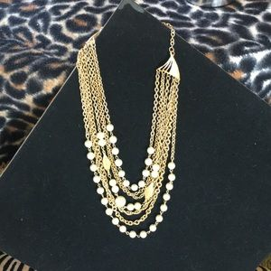 Vintage 7 Strand Faux Pearl Gold -toned Necklace